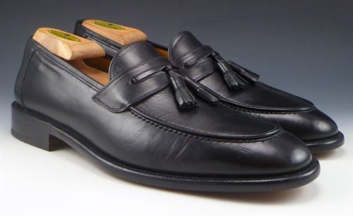 Mezlan Men's Shoes Size 9 US Leather Tassel Slip On Loafers Black Pre-owned