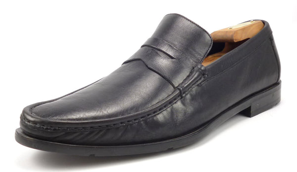 Bruno Magli Men's Shoes 10.5 US Newman Leather Slip On Loafers Black Pre-owned