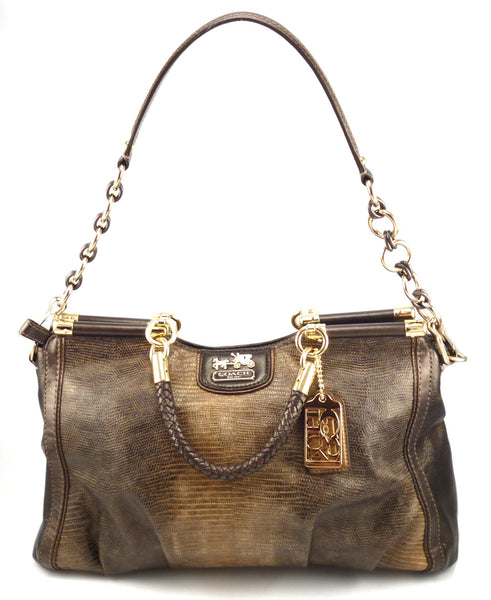 Coach New Embossed Python Caroline Satchel 70th Anniversary Hand Bag Brown