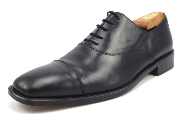 Ermenegildo Zegna Men's Shoes Size 9 Leather Cap Toe Oxfords Black