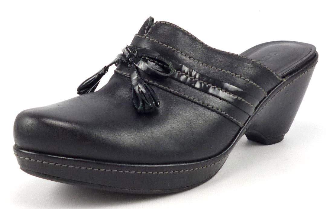 Ecco Womens Shoes 37, 6.5 US Leather Slip On Clogs Black