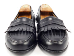 Ferragamo Men's Leather Kilt Loafers Size 8.5 US Black