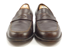 Salvatore Ferragamo Mens Shoes Size 8 EE Leather Strap Loafers Brown