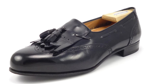Salvatore Ferragamo New Men's Shoes 10 EE Lucas Leather Wingtip Tassel Loafers Black