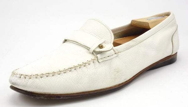 Salvatore Ferragamo Men's Shoes Size 10 US Leather Slip On Loafers White Pre-owned