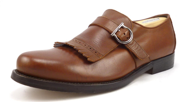 Salvatore Ferragamo Mens Size 9.5 EE Barros 2 Lavorazione Strap Loafers Brown Pre-owned