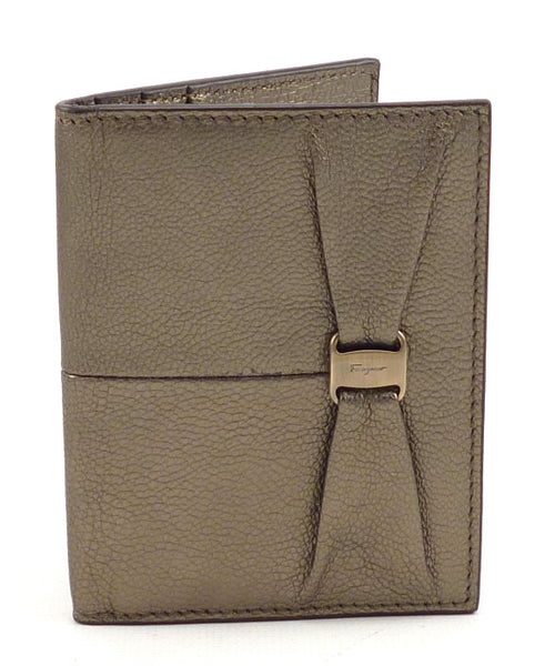 Salvatore Ferragamo New Textured Leather Bi-Fold Card Case Gold