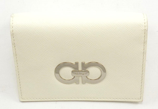 Salvatore Ferragamo New Gancio Leather Bi-Fold Card Case White