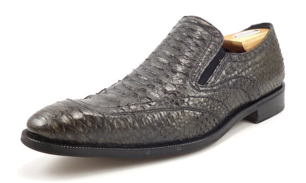 Salvatore Ferragamo Men's Shoes Size 8.5 US Snakeskin Slip On Loafers Gray Pre-owned