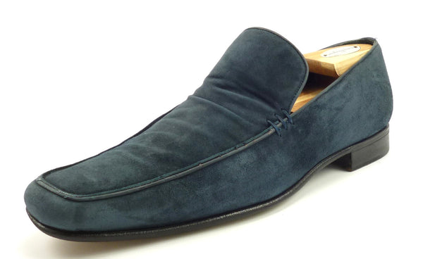 Salvatore Ferragamo Mens Shoes Size 8 Lavorazione Velvet Loafer Blue