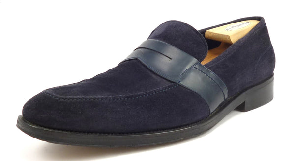 Salvatore Ferragamo Mens Shoes Size 11 Suede & Leather Strap Loafers Dark Blue