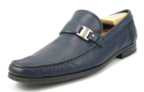 Salvatore Ferragamo Men's Shoes 9, 9.5 US Bravo Leather Strap Loafers Blue Pre-owned
