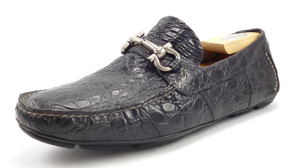 Salvatore Ferragamo Men's Shoes Size 9 EEE, 10 EEE US Parigi Crocodile Drivers Black Pre-owned