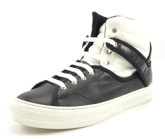Salvatore Ferragamo Children's Size 7 Leather High Top Sneakers Black, White