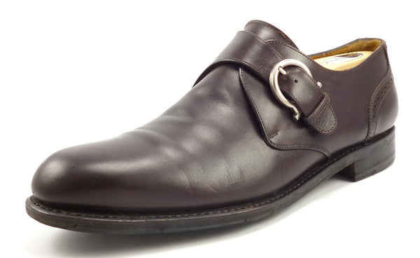 Salvatore Ferragamo Men's Shoes Size 9.5 EE, 10 EE US Leather Tramezza Monk Straps Brown Pre-owned