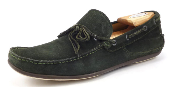 Salvatore Ferragamo Mens Shoes Size 8 US Mango Suede Driving Loafers Green Pre-owned