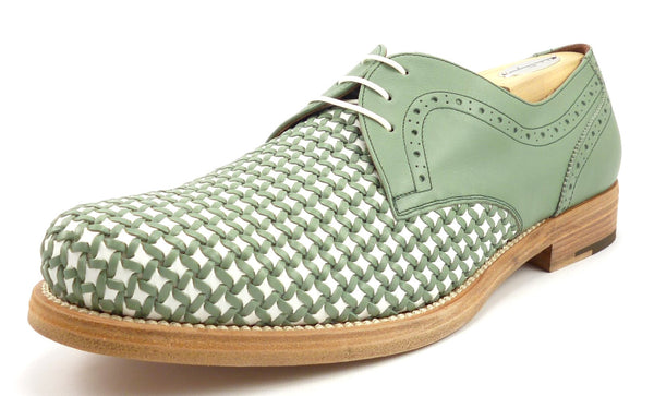 Salvatore Ferragamo New Men's Shoes Size 10 EE Woven Leather Lavorazione Oxfords Green