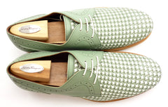 Ferragamo Men's Woven Leather Oxfords Size 10 EE Green