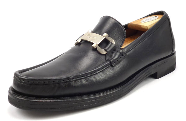Salvatore Ferragamo Men's 10 B US Jazz Leather Slip On Bit Loafers Black Pre-owned