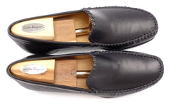 Ferragamo Men's Ranch Leather Loafers Size 9 US Black