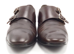 Ferragamo Men's Addo Leather Monk Straps Size 9 Brown