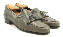 Salvatore Ferragamo Mens Shoes Size 7.5 US Vintage Leather Tassel Loafers Gray