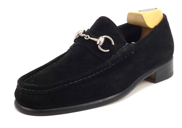 Gucci Mens Shoes Size 7.5 US Suede Horse Bit Loafers 015938 Black