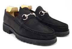 Gucci New Men's Shoes 7.5 US Suede Horse Bit Slip On Loafers Black