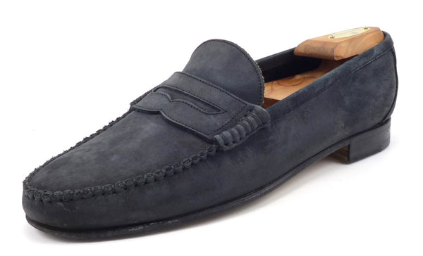 Gucci Mens Shoes Size US 10 Nubuck Strap Loafer 1100110 Dark Blue