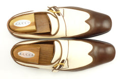 Gucci Men's Wingtip Loafers Size 9.5 US Brown, White