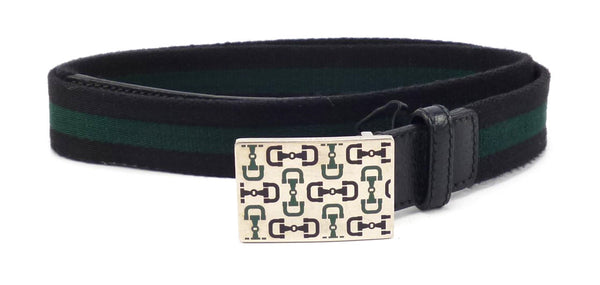 Gucci Mens Belt Size 38 / 95 Gucci Web & Leather Strap 146428 Green, Black