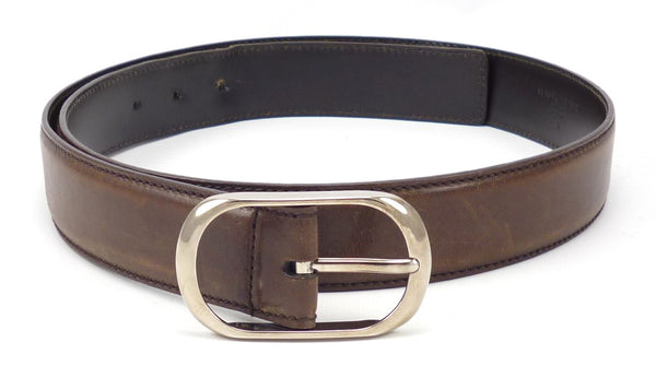 Gucci Men's Belt 38 / 95 Distressed Leather Strap Oval Buckle Brown