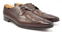 Gucci Men's Shoes 7.5, 8.5 US Leather Wingtip Lace Up Oxfords Brown