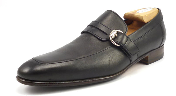 Gucci Mens Shoes Size 8.5, 9.5 US Leather Strap & Buckle Loafers 181812 Black
