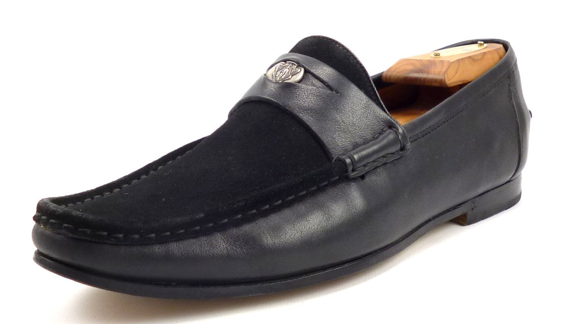 Gucci Mens Shoes Size 7.5, 8.5 US Suede & Leather Slip On Loafers Black Pre-owned