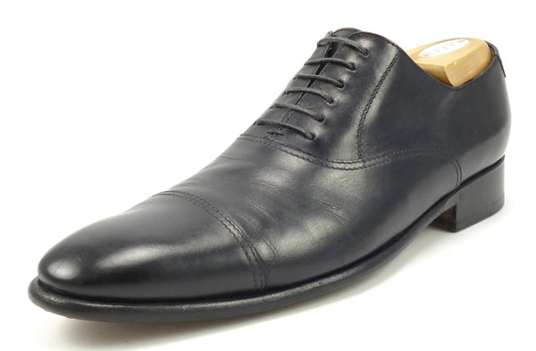 Gucci Men's Shoes 9 US Leather Cap Toe Lace Up Oxfords Black