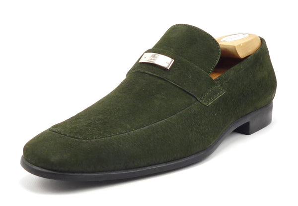Gucci Mens Shoes Size 7, 8 US Textured Suede Logo Plate Loafers Green