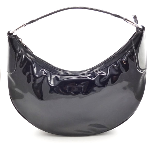 Gucci New Authentic Patent Leather Half Moon Hobo Hand Bag 257297 Black