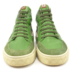 Gucci Men's Shoes 7, 8 US Leather & Suede High Top Sneakers 309520 Green