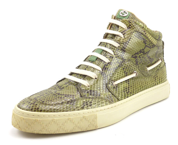 Gucci Mens Shoes Size 7 Python Snakeskin High Top Sneakers Green
