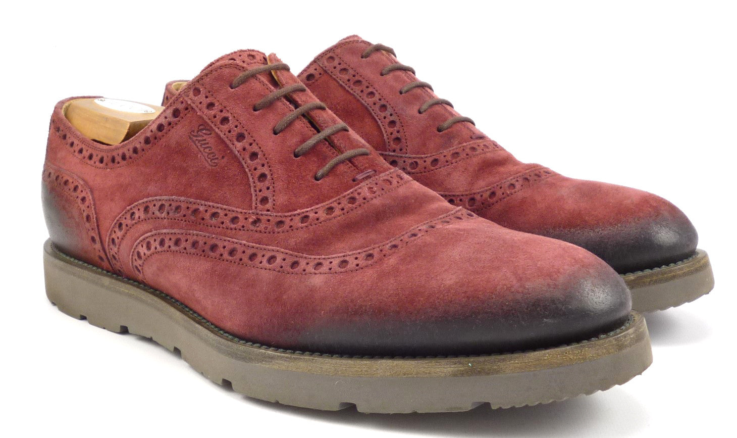 c19093cf1 Gucci Mens Shoes 10 Camden Suede Oxfords 322483 Red – Distinctive ...