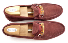 Gucci Mens Shoes Size 10, 11 US Suede Bamboo Bit Drivers Rust Brown