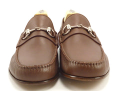 Gucci New Mens Shoes Size 8 Leather Horse Bit Loafers 367926 Brown