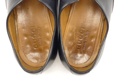 Gucci Men's Shoes 9, 10 US Leather Apron Toe Lace Up Oxfords Black