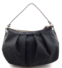 Gucci New GG Canvas Interlocking G Charm Sukey Hobo Bag Black