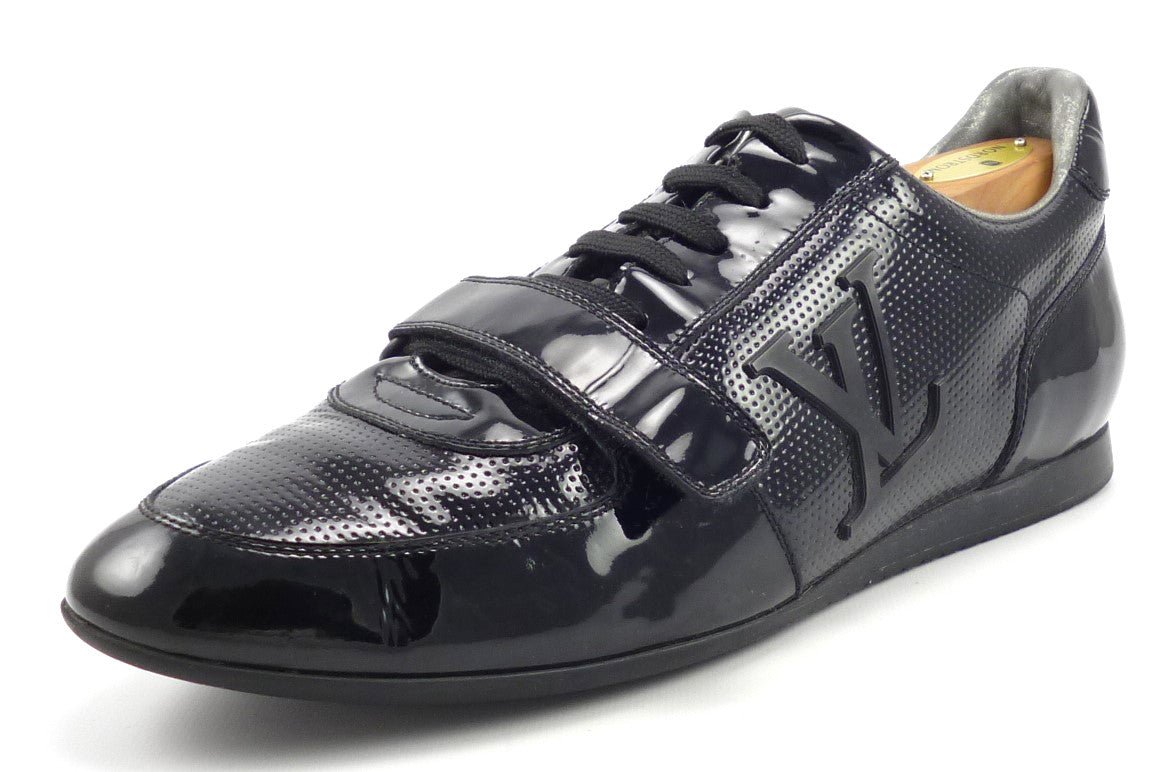 Louis Vuitton Mens Shoes Size 7, 8 US Patent Leather Strap Sneakers Black