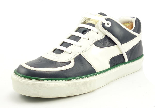 Louis Vuitton Mens Shoes Size 7.5, 8.5 US Monogram Leather Sneakers Blue, White