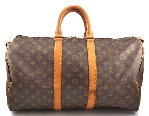Louis Vuitton Authentic Monogram Keepall 45 Travel Bag Brown