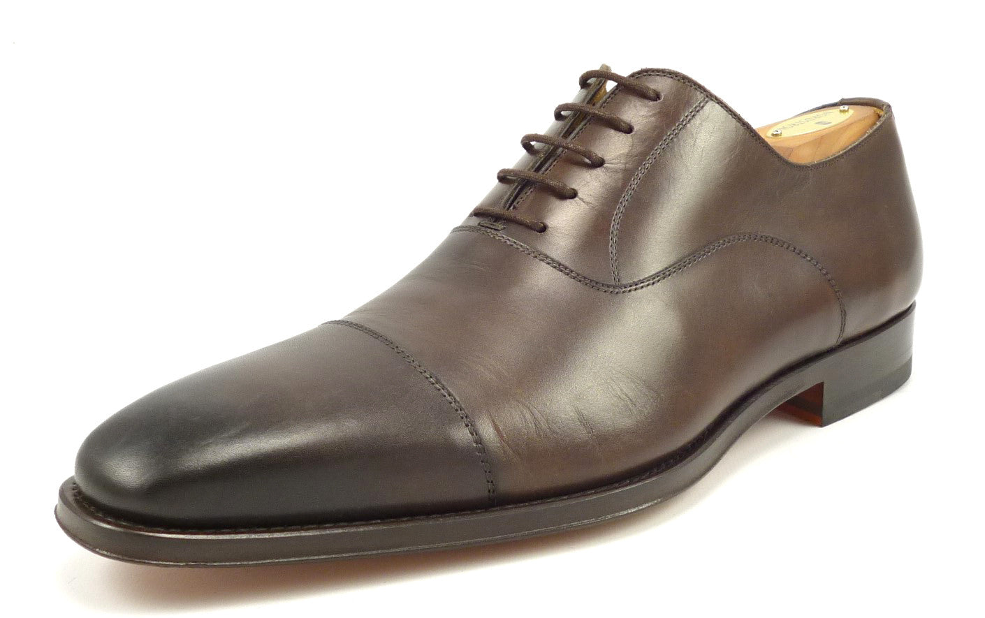 Magnanni Mens Shoes Size 8.5 Leather Cap Toe Oxfords Brown