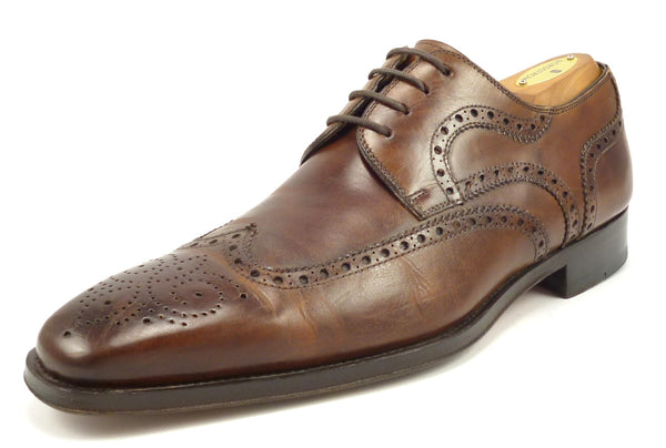 Magnanni Mens Shoes Size 8.5, 9.5 US Sergio Leather Wingtip Oxfords Brown